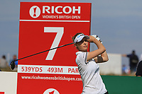 Nelly Korda (USA) on the 7th during Round 4 of the Ricoh Women's British Open at Royal Lytham &amp; St. Annes on Sunday 5th August 2018.<br /> Picture:  Thos Caffrey / Golffile<br /> <br /> All photo usage must carry mandatory copyright credit (&copy; Golffile | Thos Caffrey)