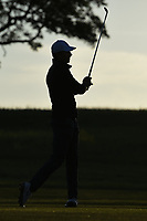 Jordan Spieth (USA) is silhouetted by the early Friday morning sunrise as he watches his approach shot on 10 during day 2 of the Valero Texas Open, at the TPC San Antonio Oaks Course, San Antonio, Texas, USA. 4/5/2019.<br /> Picture: Golffile | Ken Murray<br /> <br /> <br /> All photo usage must carry mandatory copyright credit (&copy; Golffile | Ken Murray)