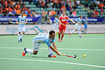 The Hague, Netherlands, June 15: Pedro Ibarra #5 of Argentina passes the ball during the field hockey bronze match (Men) between Argentina and England on June 15, 2014 during the World Cup 2014 at Kyocera Stadium in The Hague, Netherlands. Final score 2-0 (0-0)  (Photo by Dirk Markgraf / www.265-images.com) *** Local caption ***