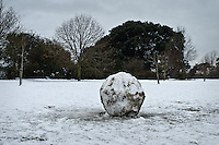 Large snow ball in a public park.