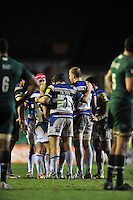 Bath players have a word during a break in play. LV= Cup match, between Leicester Tigers and Bath Rugby on January 31, 2014 at Welford Road in Leicester, England. Photo by: Patrick Khachfe / Onside Images