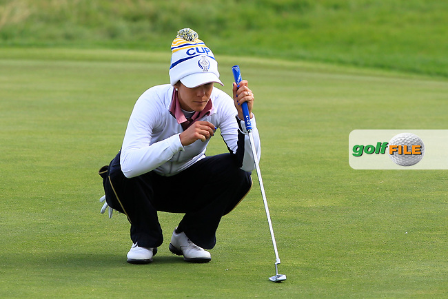 Azahara Munoz of Team Europe on the 2nd green during Day 2 Fourball at the Solheim Cup 2019, Gleneagles Golf CLub, Auchterarder, Perthshire, Scotland. 14/09/2019.<br /> Picture Thos Caffrey / Golffile.ie<br /> <br /> All photo usage must carry mandatory copyright credit (© Golffile   Thos Caffrey)
