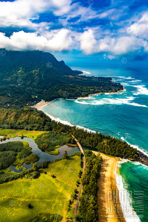 The view from a helicopter flying over paradise, Napali Coast, Kaua'i.