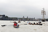 Greenwich, London, UK. 7 September 2014. The flotilla of little boats follwing Gloriana. Her Majesty the Queen's row barge Gloriana leads a  Royal Pageant up the River Thames from Martime Greenwich during the Tall Ships Festival, Greenwich, London, UK. Photo: Bettina Strenske