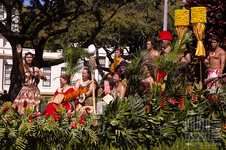 Royal Court float in the annual King Kamehameha Day Parade. The first ruler to unite all the islands is remembered each June 11th.