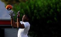 Jun. 13, 2009; Las Vegas, NV, USA; Marcus Freeman catches a pass during the United Football League workout at Sam Boyd Stadium. Mandatory Credit: Mark J. Rebilas-