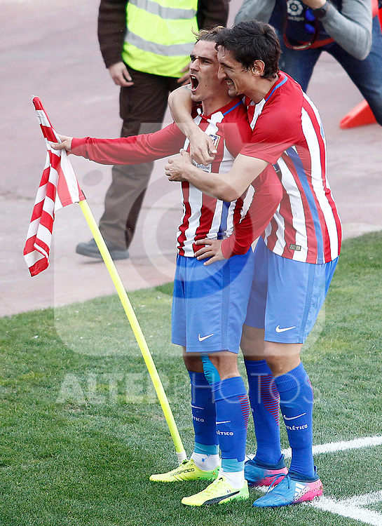 Atletico de Madrid's Antoine Griezmann and Stefan Savic celebrate goal during La Liga match. March 19,2017. (ALTERPHOTOS/Acero)
