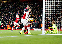 GOAL - Alexis Sanchez of Arsenal scores to make it 3-0 during the Premier League match between Arsenal and Huddersfield Town at the Emirates Stadium, London, England on 29 November 2017. Photo by Carlton Myrie / PRiME Media Images.