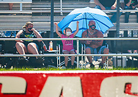 Jul 18, 2020; Clermont, Indiana, USA; NHRA fans wear masks in the crowd during qualifying for the Summernationals at Lucas Oil Raceway. Mandatory Credit: Mark J. Rebilas-USA TODAY Sports