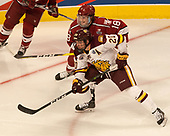 Karson Kuhlman (UMD - 20), Adam Fox (Harvard - 18) - The University of Minnesota Duluth Bulldogs defeated the Harvard University Crimson 2-1 in their Frozen Four semi-final on April 6, 2017, at the United Center in Chicago, Illinois.
