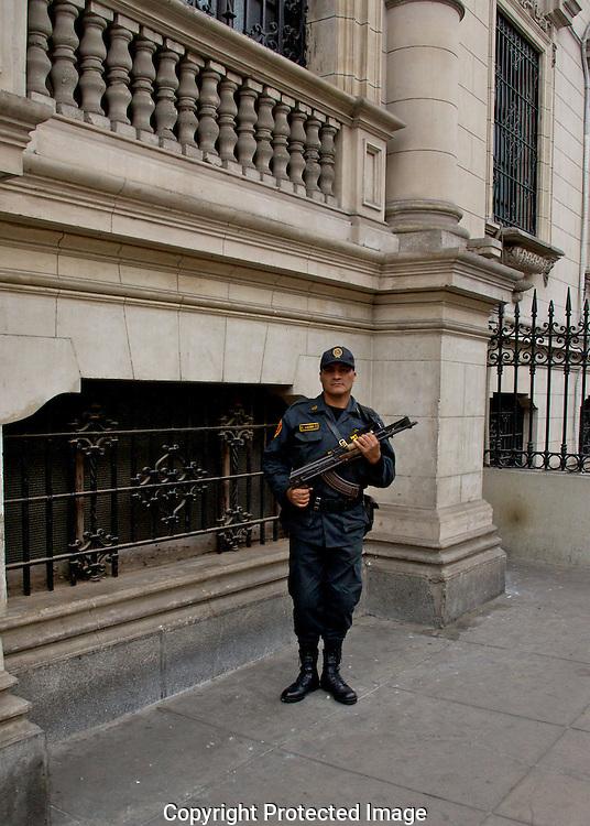 Palace guard with automatic weapon.<br /> Lima, Peru