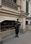 Palace guard with automatic weapon.<br />