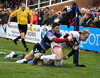 Bedford, England. Joel Hodgson of Newcastle Falcons in action during The Championship Bedford Blues vs Newcastle Falcons at Goldington Road  Bedford, England on November 3, 2012