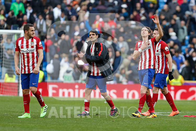 Real Madrid´s /rm and Atletico de Madrid´s /at during 2015/16 La Liga match between Real Madrid and Atletico de Madrid at Santiago Bernabeu stadium in Madrid, Spain. February 27, 2016. (ALTERPHOTOS/Victor Blanco)