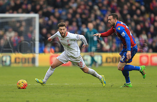 06.03.2016. Selhurst Park, London, England. Barclays Premier League. Crystal Palace versus Liverpool. Adam Lallana of Liverpool comes away with the ball.