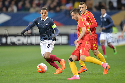 28.03.2016. Stade LeMans,  Le Mans, France, U-21 2017 Euros qualification. France versus Macedonia.  CORENTIN TOLISSO covered by MARJAN RADESKI