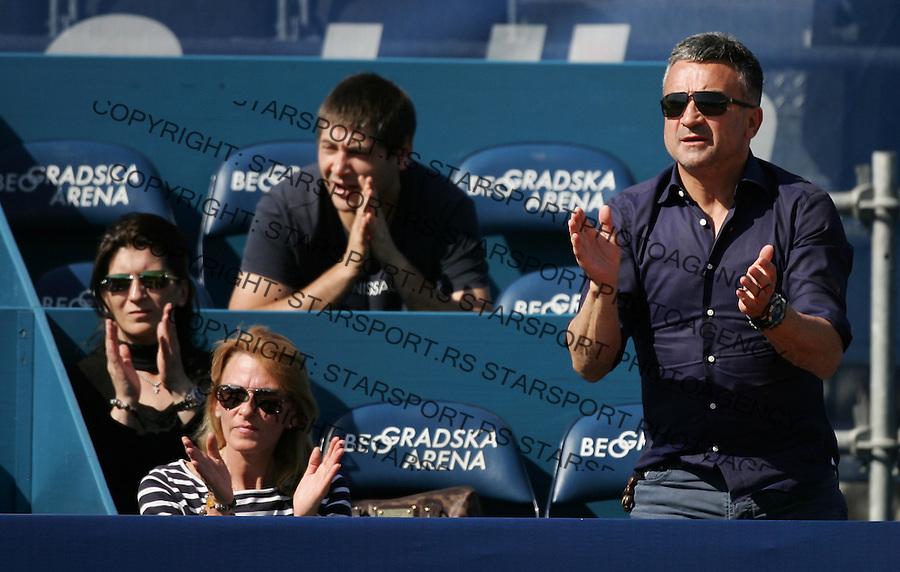 Serbia Open 2012.Qualifications.Djordje Djokovic (SRB) Vs. Josselin Ouanna <br /> Srdjan Djokovic, father of Djordje Djokovic and Dijana Djokovic mother (FRA).Belgrade, 28.04.2012..foto: Srdjan Stevanovic/Starsportphoto &copy;