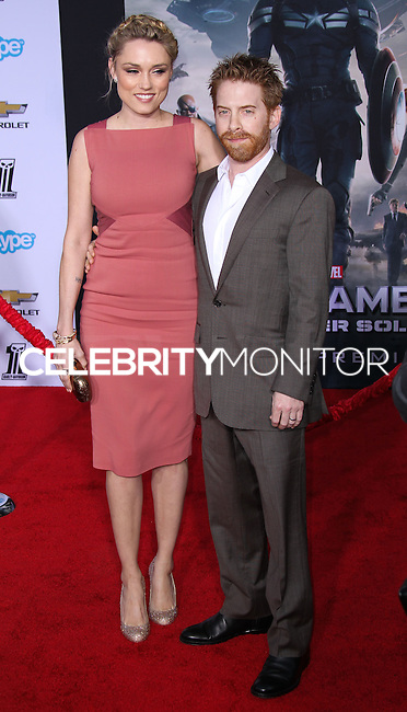 """HOLLYWOOD, LOS ANGELES, CA, USA - MARCH 13: Clare Grant, Seth Green at the World Premiere Of Marvel's """"Captain America: The Winter Soldier"""" held at the El Capitan Theatre on March 13, 2014 in Hollywood, Los Angeles, California, United States. (Photo by Xavier Collin/Celebrity Monitor)"""
