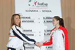 Tenis, Fed Cup 2011, play-off for group A.Slovakia Vs. Serbia, Official Draw.Daniela Hantuchova, left and Bojana Jovanovska.Bratislava, 15.04.2011..foto: Srdjan Stevanovic/Starsportphoto ©