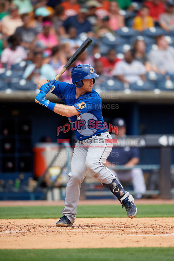 Durham Bulls Mac James (28) bats during an International League game against the Toledo Mud Hens on July 16, 2019 at Fifth Third Field in Toledo, Ohio.  Durham defeated Toledo 7-1.  (Mike Janes/Four Seam Images)