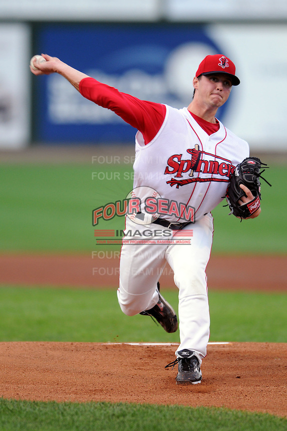 Lowell Spinners pitcher Mike Augliera #22 during a game versus the State College Spikes at LeLacheur Park in Lowell, Massachusetts on July 29, 2012.  (Ken Babbitt/Four Seam Images)