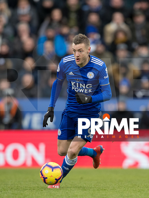 Jamie Vardy of Leicester City during the Premier League match between Leicester City and Manchester United at the King Power Stadium, Leicester, England on 3 February 2019. Photo by Andy Rowland.