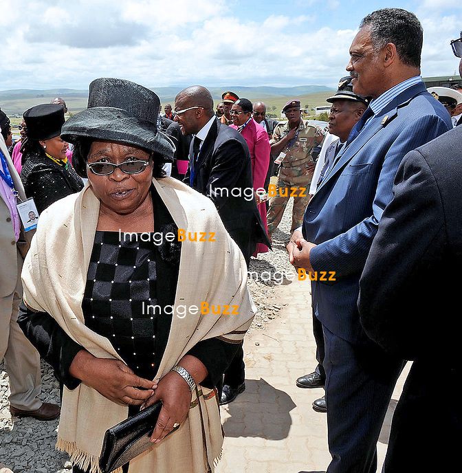 Qunu, South Africa: 15.12.2013: STATE FUNERAL FOR NELSON MANDELA<br /> REV JESSE JACKSON AND MAKHUMALO ZUMA (1st lady)<br /> at the funeral service for former President Nelson Mandela in Qunu, Eastern Cape, South Africa