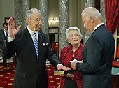 United States Vice President Joe Biden, right, administers the oath of office during a mock swearing-in ceremony to US Senator Chuck Grassley (Republican of Iowa), left, in the Old US Senate Chamber in the US Capitol in Washington, DC on Tuesday, January 3, 2017.  Grassley's wife, Barbara holds the Bible at center.<br /> Credit: Ron Sachs / CNP<br /> (RESTRICTION: NO New York or New Jersey Newspapers or newspapers within a 75 mile radius of New York City)