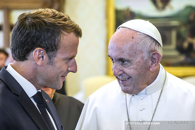 Pope Francis meets French President Emmanuel Macron,during an audience in the Apostolic Palace on June 26, 2018. at the Vatican