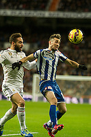Real Madrid´s Daniel Carvajal and Deportivo de la Coruna's Luisinho during 2014-15 La Liga match between Real Madrid and Deportivo de la Coruna at Santiago Bernabeu stadium in Madrid, Spain. February 14, 2015. (ALTERPHOTOS/Luis Fernandez) /NORTEphoto.com
