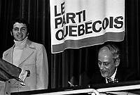 Claude Charron et Rene Levesque<br /> , Entre le 8 et le 14 juin 1970<br /> <br /> Photographe : Photo Moderne - Agence Quebec Presse