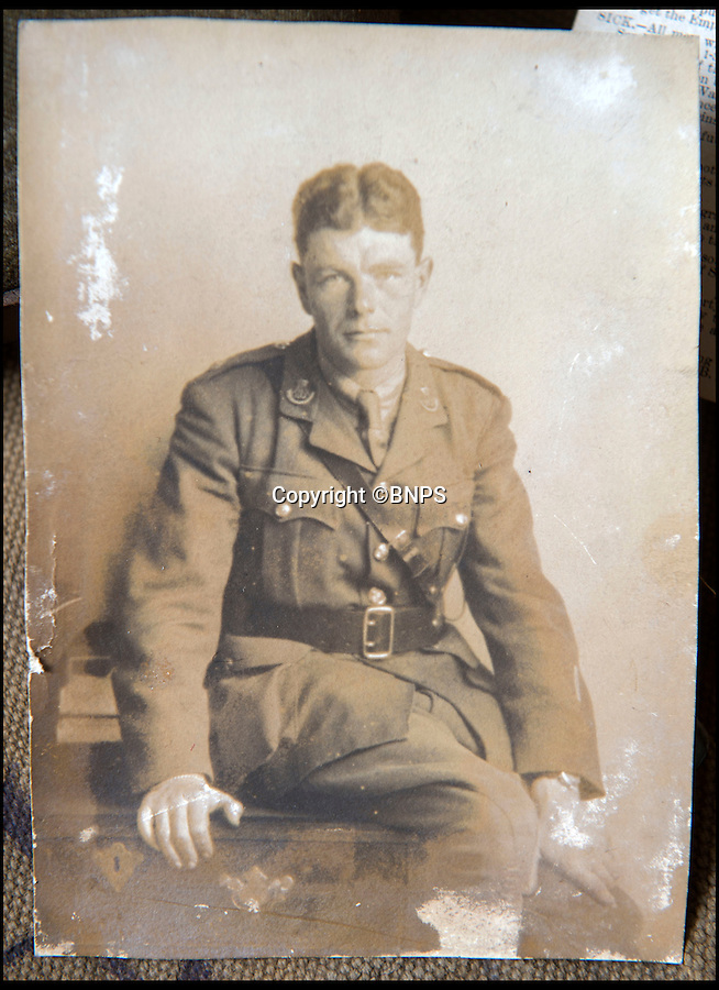 BNPS.co.uk (01202 558833)<br /> Pic: PhilYeomans/BNPS<br /> <br /> 2nd Lt Charles Walter Bodman - killed just 3 months before the wars end after 3 years in the trenches.<br /> <br /> Poignant time capsule trunk from the Great War rediscovered...<br /> <br /> An incredible 'time capsule' trunk containing the personal effects of a tragic World War One officer that his grieving family shut away in 1918 has been unearthed - almost 100 years later.<br /> <br /> The military items belonged to Second Lieutenant Charles Bodman, from Marshfield, Glos, who was killed three months before the end of the war in 1918.<br /> <br /> After his death all his possessions, including his uniforms, caps, brass badges, detailed trench maps, orders, handbooks, photographs, German souveniers, letters, water bottles, lanyard and even spent bullets, were sent back to his widowed mother Sarah who locked them away in the trunk.