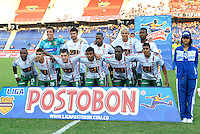 BARRANQUILLA - COLOMBIA -16-02-2014: Los jugadores de Patriotas FC posan para una foto durante partido de la quinta fecha de la Liga Postobon I 2014, jugado en el estadio Metropolitano Roberto Melendez de la ciudad de Barranquilla. / The players of Patriotas FC pose for a photo during a match for the fifth date of the Liga Postobon I 2014 at the Metropolitano Roberto Melendez stadium in Barranquilla city. Photo: VizzorImage  / Alfonso Cervantes / Str.