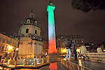 To celebrate 150 years from the unification of Italy, the Trajan's Column in Rome is enlighted in green-white-red colours on March 13, 2011.
