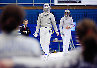 27 FEB 2011 - LONDON, GBR - Italy's Alessandra Lucchino rues a missed point during the bronze medal match against Poland at fencing's  England Cup team sabre tournament at  the National Sports Centre at Crystal Palace. Poland won 45-44 .(PHOTO (C) NIGEL FARROW)