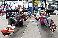(L-R) Kyle Bartley and Leon Britton exercise in the gym during the Swansea City Training and Press Conference at The Fairwood Training Ground, Swansea, Wales, UK. Thursday 25 January 2018