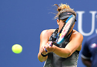FLUSHING NY- SEPTEMBER 09: ***NO NY DAILIES*** Madison Keys returns a volley against Sloane Stephens during the Womens finals on Arthur Ashe Stadium at the US Open in the USTA Billie Jean King National Tennis Center on September 9, 2017 in Flushing Queens. <br /> CAP/MPI04<br /> &copy;MPI04/Capital Pictures