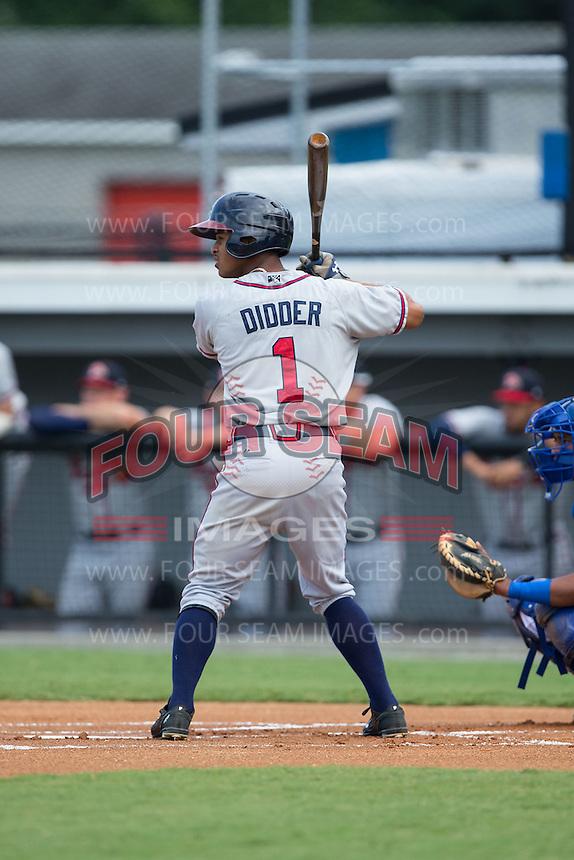 Ray-Patrick Didder (1) of the Danville Braves at bat against the Burlington Royals at Burlington Athletic Park on July 12, 2015 in Burlington, North Carolina.  The Royals defeated the Braves 9-3. (Brian Westerholt/Four Seam Images)