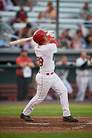 Auburn Doubledays left fielder Pablo O'Connor (28) follows through on a swing during a game against the Hudson Valley Renegades on September 5, 2018 at Falcon Park in Auburn, New York.  Hudson Valley defeated Auburn 11-5.  (Mike Janes/Four Seam Images)
