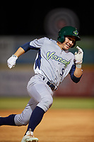 Vermont Lake Monsters pinch runner Adrian Spitz (5) runs the bases during a game against the Tri-City ValleyCats on June 16, 2018 at Joseph L. Bruno Stadium in Troy, New York.  Vermont defeated Tri-City 6-2.  (Mike Janes/Four Seam Images)