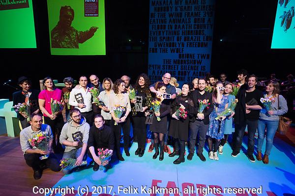 The Netherlands, Amsterdam, 22 November 2017. The 30th International Documentary Film Festival Amsterdam Award Ceremony - IDFA 2017. All winners on stage<br /> . Photo: Felix Kalkman / (c) 2017, www.felixkalkman.com