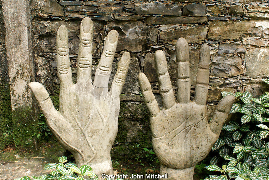Sculpture of Plutarco Gastelum's right hand at Las Pozas, the surrealistic sculpture garden created by Edward James near Xilitla, Mexico