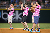 "The Charlotte Knights grounds crew dances to Beyonce's ""Put a Ring On It"" as the drag the infield before the top of the seventh inning of the game against the Rochester Red Wings at BB&T BallPark on August 8, 2015 in Charlotte, North Carolina.  The Red Wings defeated the Knights 3-0.  (Brian Westerholt/Four Seam Images)"