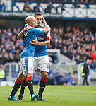 Nicky Law celebrates with Lee Wallace after he scores for Rangers