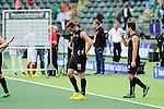 The Hague, Netherlands, June 08: Alex Shaw #19 of New Zealand and Kane Russell #21 of New Zealand look on after the field hockey group match (Men - Group B) between the Black Sticks of New Zealand and Germany on June 8, 2014 during the World Cup 2014 at Kyocera Stadium in The Hague, Netherlands.  Final score 3-5 (1-3) (Photo by Dirk Markgraf / www.265-images.com) *** Local caption ***