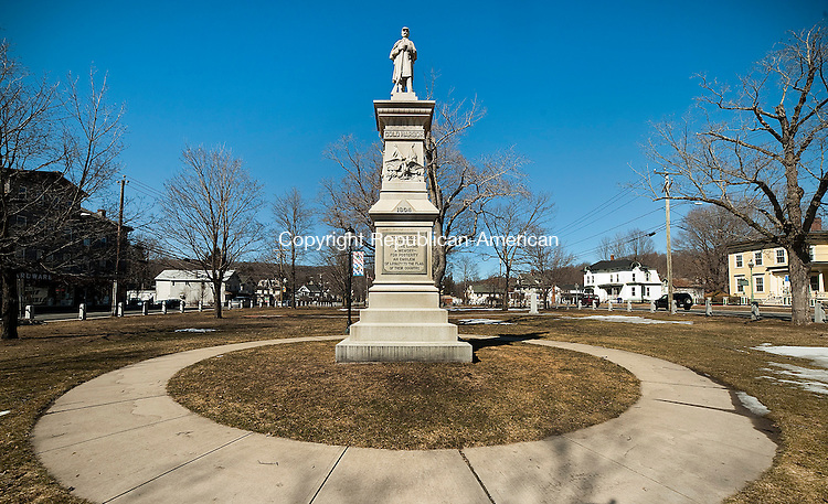 WINSTED ,  CT,  CT-041115JS61- The site for the Soldiers' Monument on East End Park in Winsted was chosen because it was a military parade ground 100 years earlier.<br /> Jim Shannon Republican-American