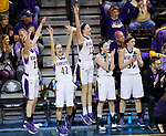 SIOUX FALLS, SD: MARCH 23:  Players on the Ashland bench celebrate a 3 point score against Central Missouri during their game at the 2018 Division II Women's Basketball Championship at the Sanford Pentagon in Sioux Falls, S.D. (Photo by Dick Carlson/Inertia)