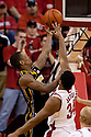 01 March 2011: Kim English #24 of the Missouri Tigers scores two against Lance Jeter #34 of the Nebraska Cornhuskers during the first half at the Devaney Sports Center in Lincoln, Nebraska. Nebraska defeated Missouri 69 to 58.