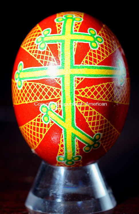 THOMASTON. CT, 31 MARCH  2012-033112JS15-A pysanka, or Ukranian Easter Egg, decorated by Thomaston artist Dennis Kowaleski. He lead a Ukranian Easter Egg decorating workshop Saturday at The Phoenix Rising Center in Thomaston. .Jim Shannon Republican-American