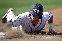 TCU's Tyler Featherston in Game 11 of the NCAA Division One Men's College World Series on June 25th, 2010 at Johnny Rosenblatt Stadium in Omaha, Nebraska.  (Photo by Andrew Woolley / Four Seam Images)